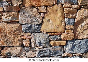 Stone wall, Alonissos island - Detail of a dry stone wall on...