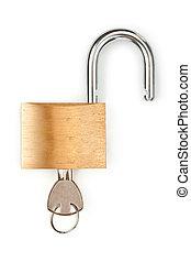 Unlocked padlock with key in it against white background
