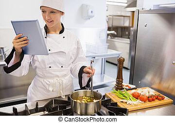 tabuleta, Cozinhar, cozinheiro, PC, enquanto, femininas,...