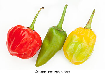 Three chiles in a row - Scotch bonnet jalapeno and habanero...