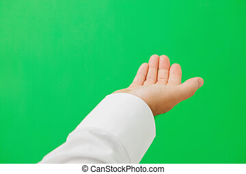Hand calling to green screen - Open hand calling to green...