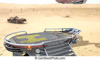 Futuristic air vehicle landing in dessert