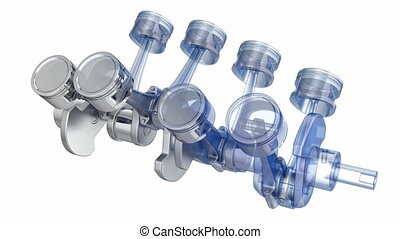 V8 engine pistons on a crankshaft, half x-ray version with...