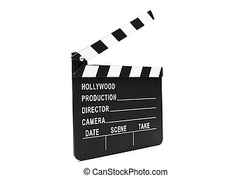 Film clapper board on white background