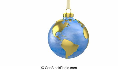 Christmas ball shaped as globe or planet with clipping path,...