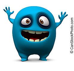 feliz, azul, monstruo