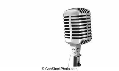 Classic microphone on a stand with clipping path isolated on...