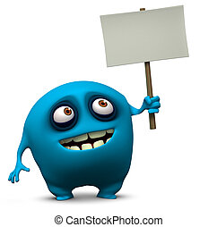 azul, monstruo, tenencia, blanco, tabla