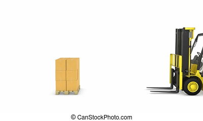 Yellow fork lift truck lifts up packages, isolated on white