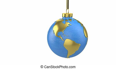 Christmas ball shaped as globe