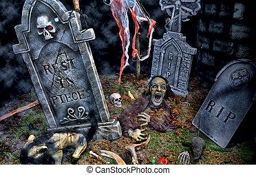 cementerio, monstruo, Lpida, Halloween