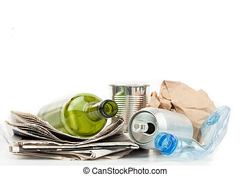 Recyclable materials on white background