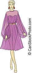 woman in chiffon dress - Fashion sketch of woman in chiffon...