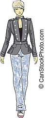 woman in military jacket - fashion sketch of woman in...