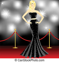woman posing in front of the paparazzi on the red carpet -...
