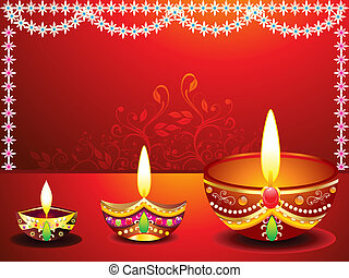 abstract diwali background with flower vector illustration