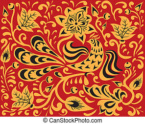 Floral pattern with fire bird. Russian national ornament -...