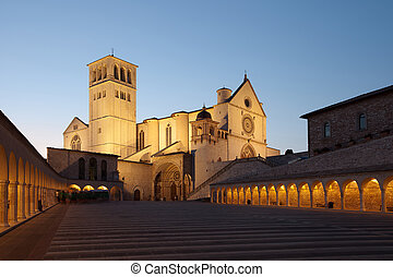 Basilica of St. Francis of Assisi at sunset, Italy -...