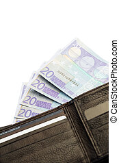 Euro notes fanning out of wallet