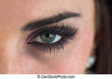 Woman with long eyelashes - Close up of woman with long...