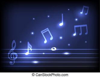magic melody burning musical symbols and stars on a dark...