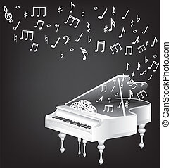 white grand piano and notes - music vintage card with white...