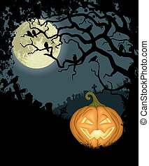 Halloween background with pumpkin, tree, crows and cemetery