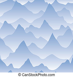Scenery with mountain ridges and fog. Seamless background