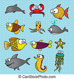 Fish Drawings - illustration of Fish Drawings, aquatic and...