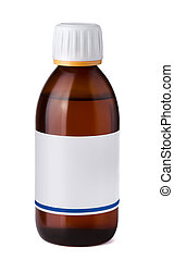 Syrup bottle - Medicine bottle with blank label isolated on...