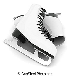 skates for figure skating on a white background