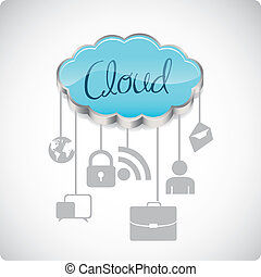 communications technology - illustration of cloud computers...