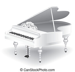white grand piano - vintage white grand piano isolated on...