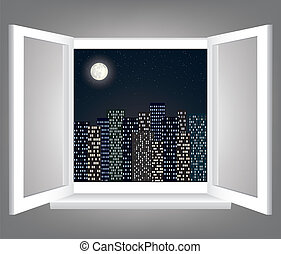 window - Room, opened window with night city scape