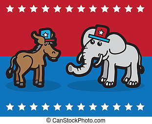 Elephant and Donkey representing political parties