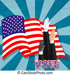 Hand-up election vote for american president
