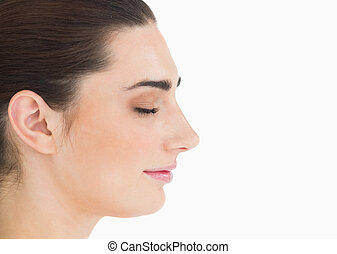 Side view of natural woman