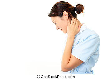 Nurse with shoulder neck pain.