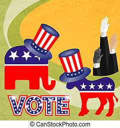 Party logo with american hat - Electronic voting also known...
