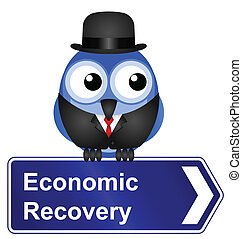 Economic recovery sign isolated on white background