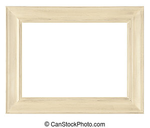 ancient wooden frame - wooden frame on white background with...