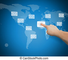 Hand selecting email from world map touchscreen interface
