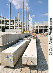 Construction site - Concrete construction and beams with...