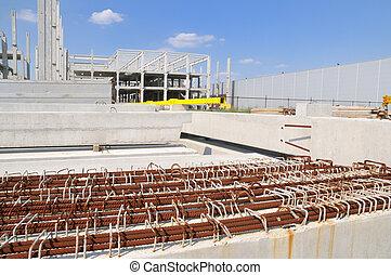 Construction site - Concrete construction and reinforcement...
