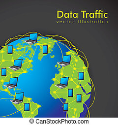 Internet Data Traffic - illustration of Internet Data...