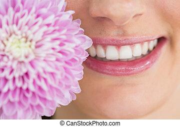Woman with white smile - Woman having white smile while...