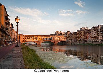 Vecchio Bridge on river Arno, Florence, Tuscany, Italy