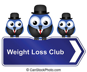 weight loss club - Comical weight loss club sign isolated on...