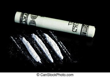 Lignes, illégal, substance, suivant, roulé,...
