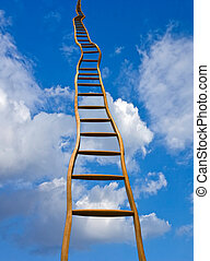 Stairway to heaven - Crooked wooden ladder to infinity,...